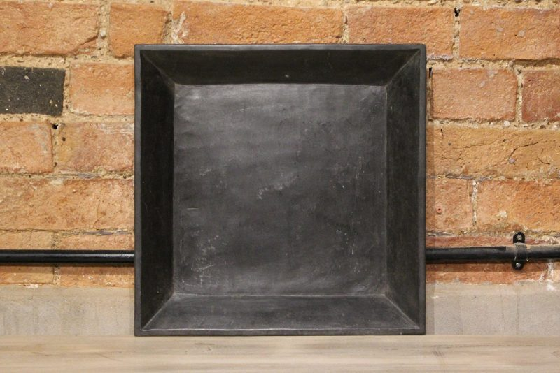 Square matt black marble plate - large