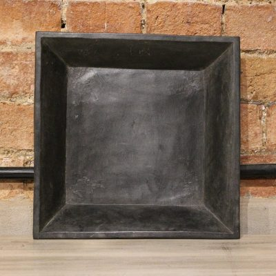 Square matt black marble plate - medium
