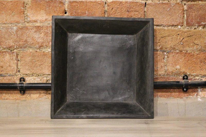 Square matt black marble plate - medium