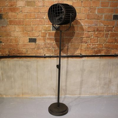 Freestanding industrial iron floor lamp holder