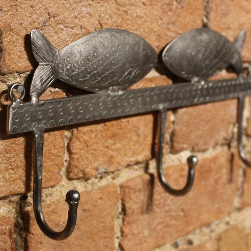 Silver 3-coat hook with fish design