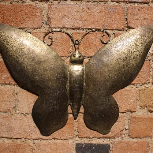 Gold engraved butterfly wall-hanging