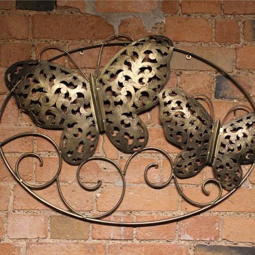 Gold engraved pair of butterflies wallhanging