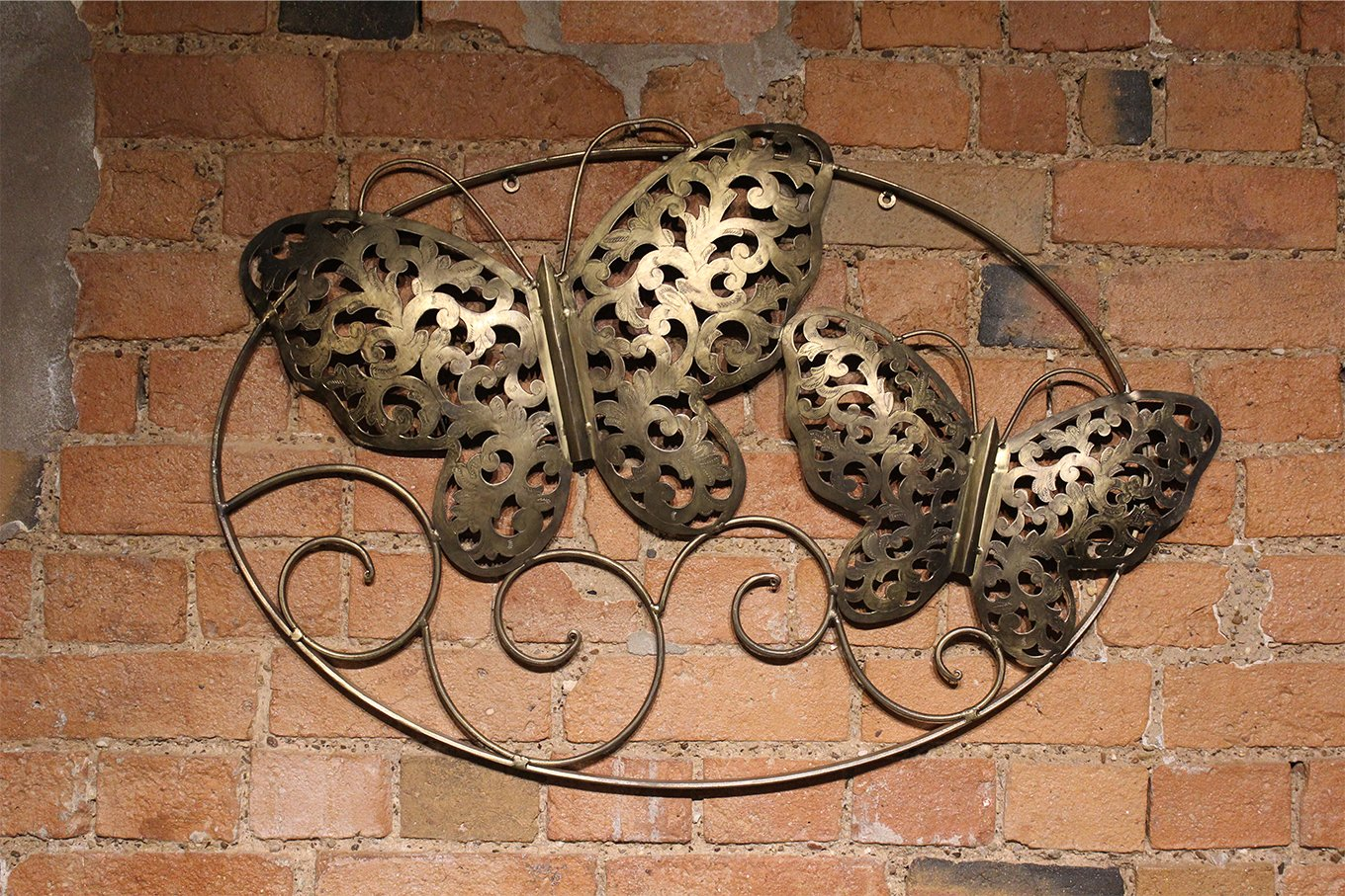 HC00563 Gold Butterfly Pair Wallhanging