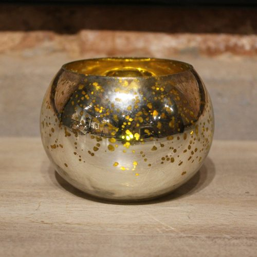 Gold/ silver glass tealight holder