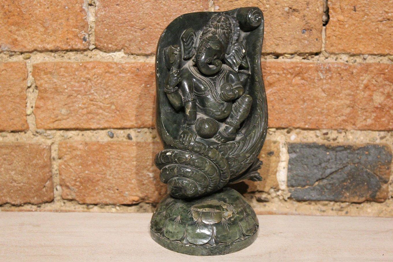 HC00654 Emerald Marble Ganesh Statue