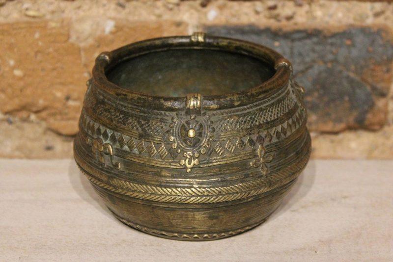 Old engraved brass pot
