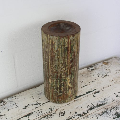 Heavy wooden candle made from teak wood pillar
