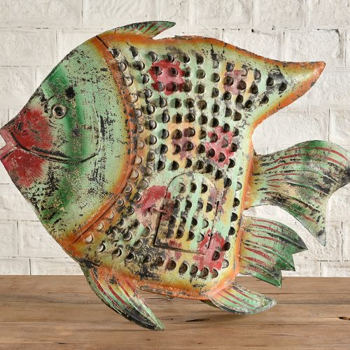 Freestanding or wall-hung metal fish sculpture