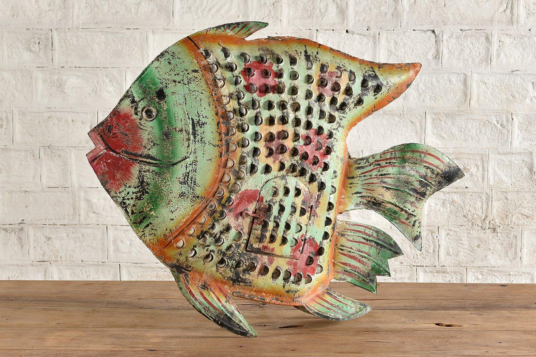 HC00740 VINTAGE Large Colourful Metal Fish