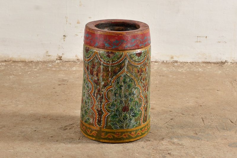 Old, heavy wooden vase hand-painted in floral theme