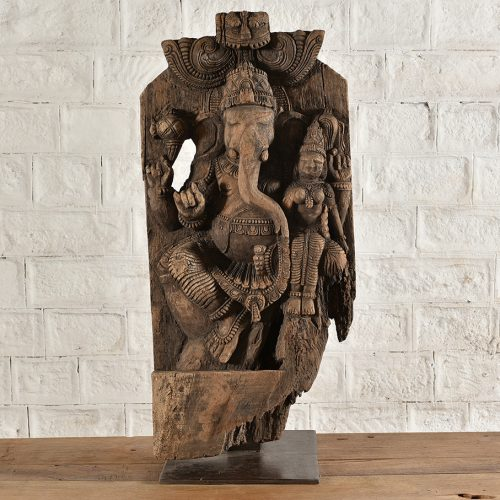 Carved wooden Ganesh on iron stand