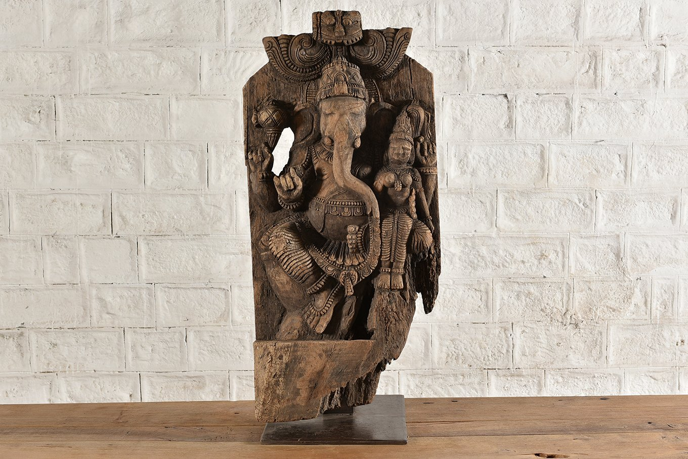 HC00777 STATUE Carved Wooden Ganesh