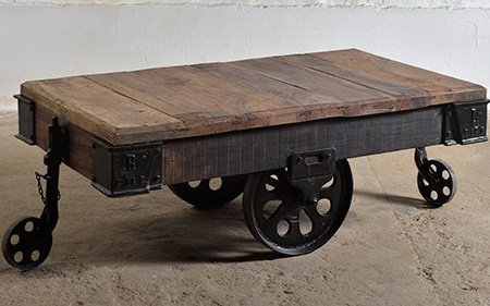 industrail cart coffee table wood metal wheels