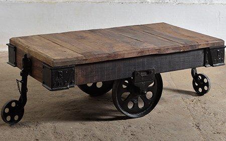 industrail cart coffee table wood metal wheels