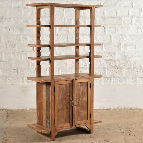Reclaimed wooden cabinet with 2-doors and 4-shelves