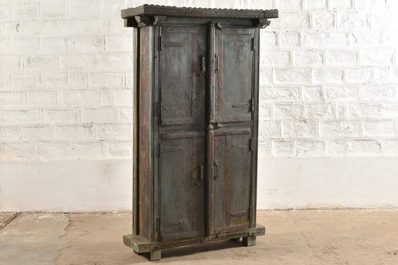 Old original faded blue cupboard with 4-doors