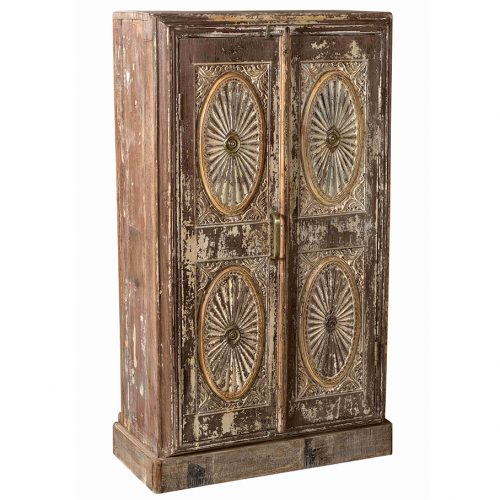 Original 2-door cabinet with carved front