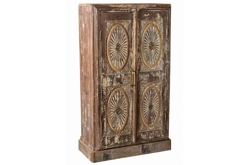 Original 2-door cabinet with carved front
