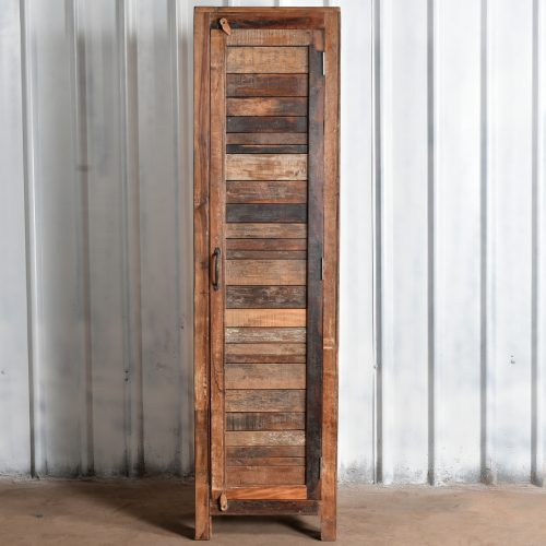 Tall, narrow cupboard made from reclaimed wood