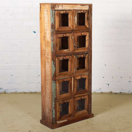Reclaimed wooden display cabinet with glass front drawers
