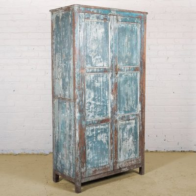 Old vintage blue clothes cupboard