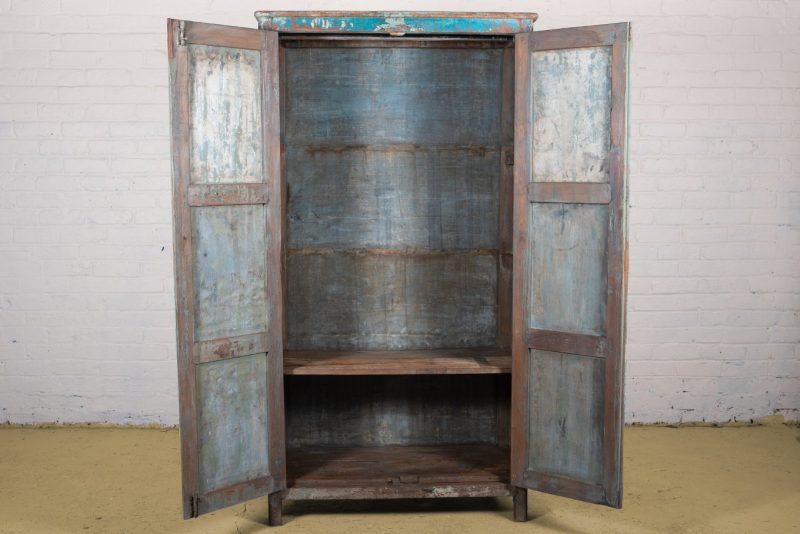 Old vintage blue clothes cupboard