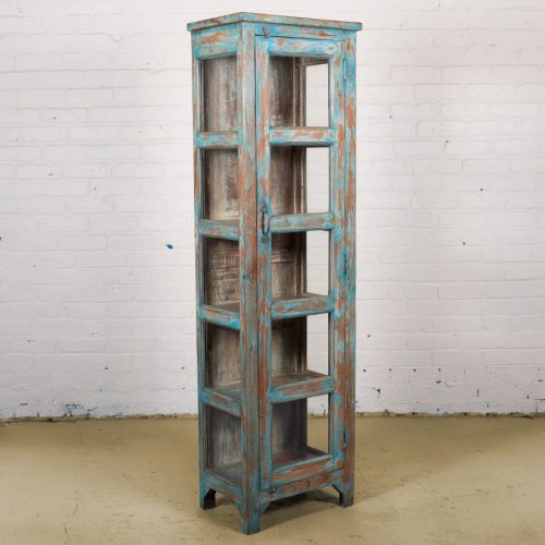 Vintage blue wooden display cupboard with glass panels and 5-tiers