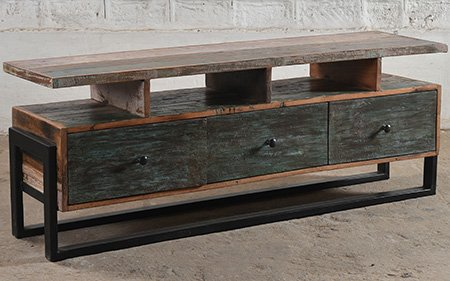 reclaimed industrial media unit console