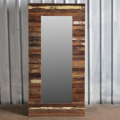 Colourful, reclaimed wooden rectangle mirror