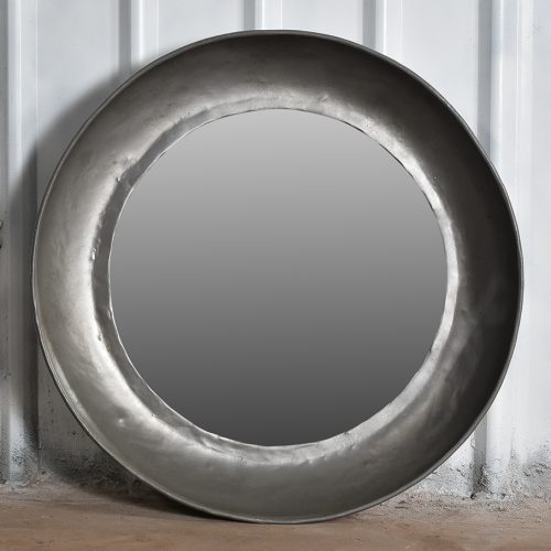 Industrial, round iron mirror - medium