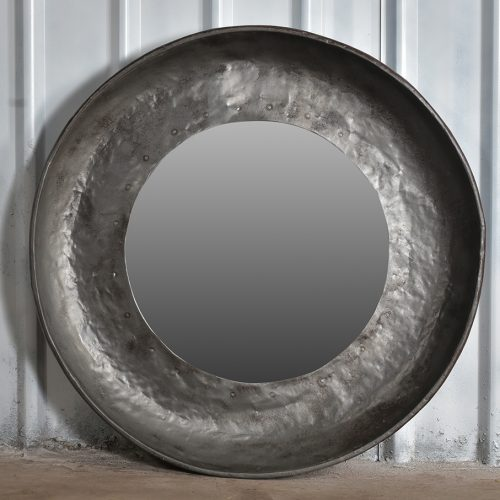 Industrial, round iron mirror - large