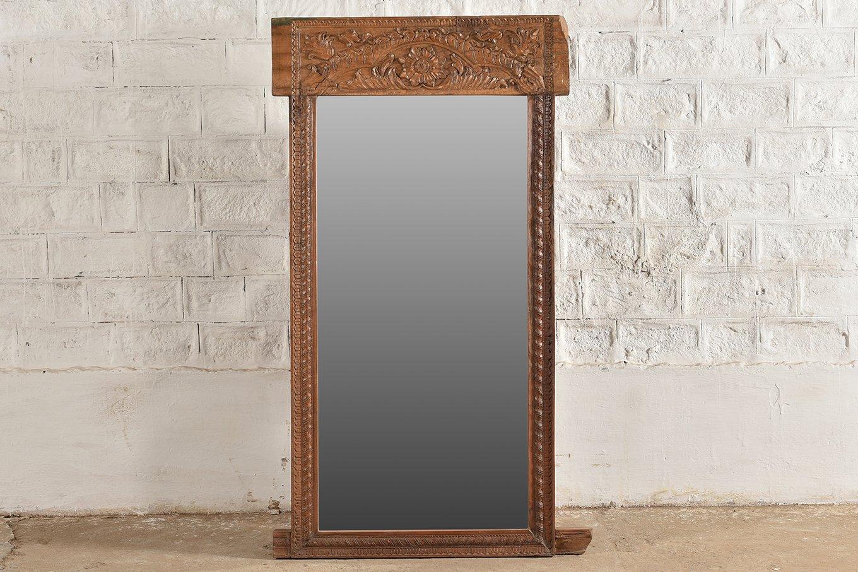 MR00144 HAMESHA Carved Wooden Mirror