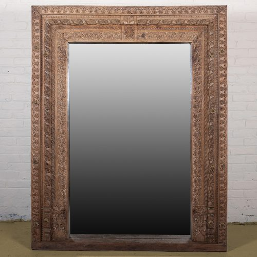 Original carved, teak wood door frame with mirror