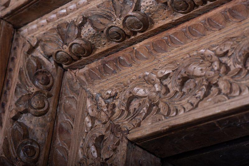 Original carved, teak wood door frame with mirror