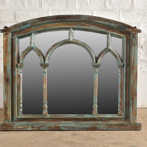 Large faded blue wooden mirror with triple arch