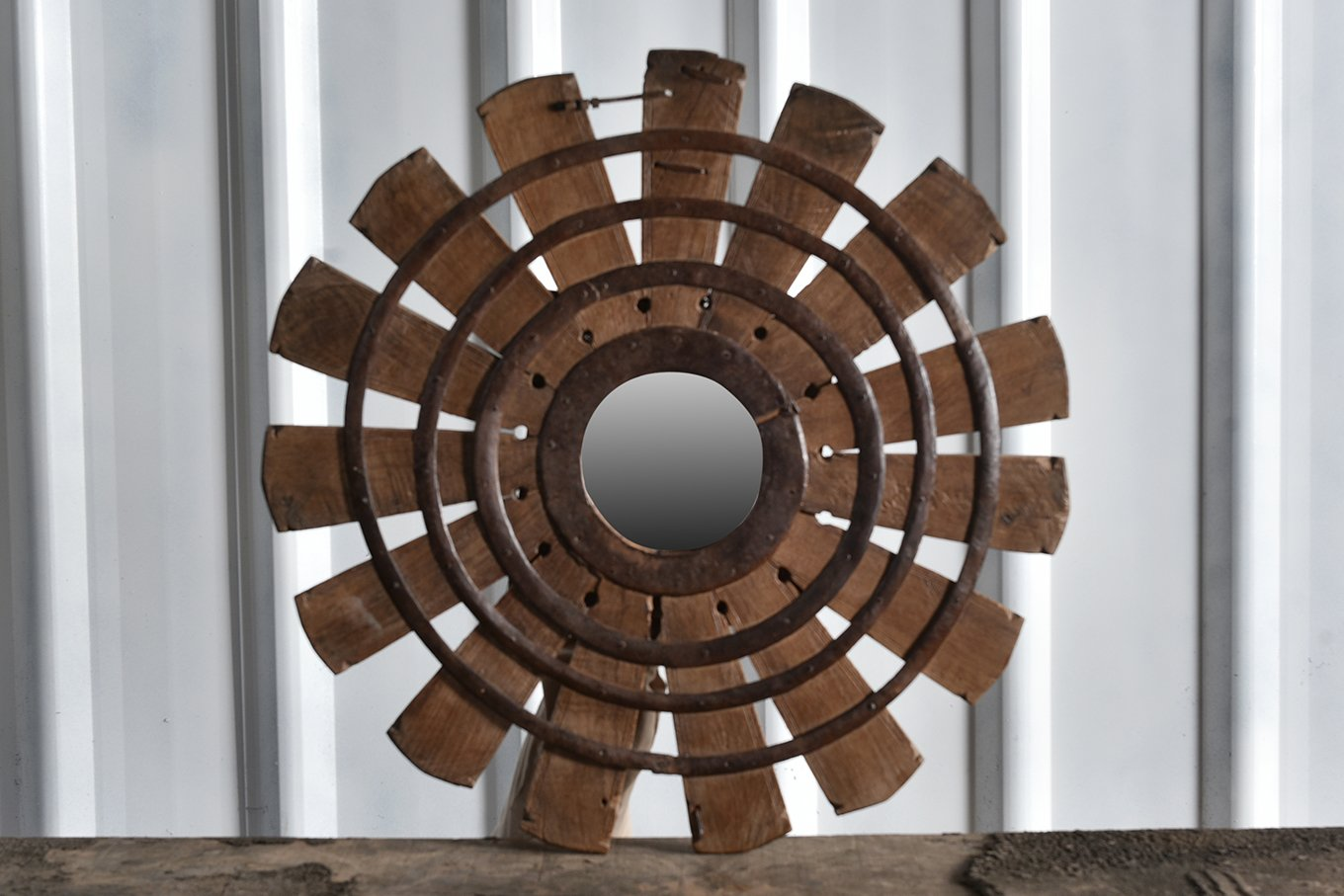 Round mirror made from old wooden barrel