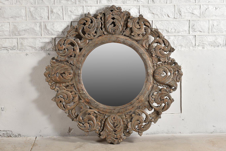 HAMESHA Ornate Round Mirror