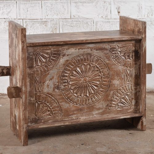 Carved Vintage Style Storage Trunk