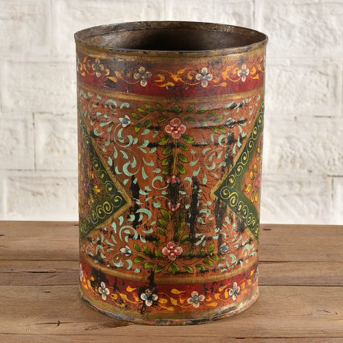 Hand-painted floral iron can