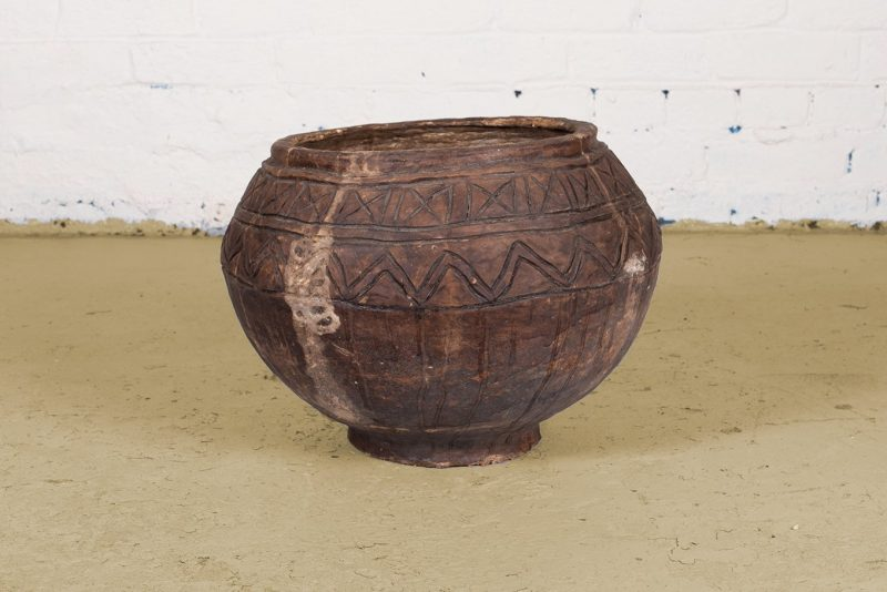 Traditional old water pot made from paper mache