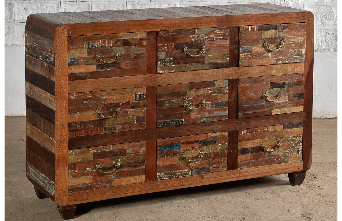 Reclaimed 9 drawer sideboard ember home unlocking the for Sideboard yourhome