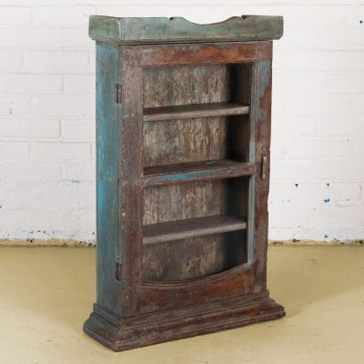 Original wooden wall mounted display cabinet with glass door