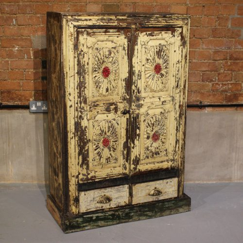 Original old wooden cupboard with 2-drawers