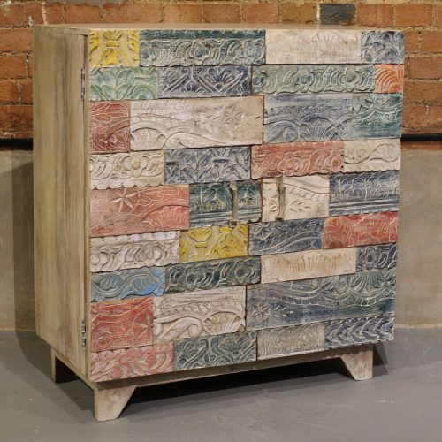 Wooden 2-door cabinet with colourful, floral, mosaic tile pattern
