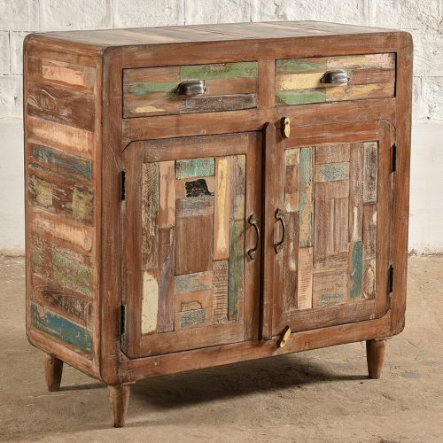 Colourful, reclaimed wooden cabinet with 2-doors & 2-drawers