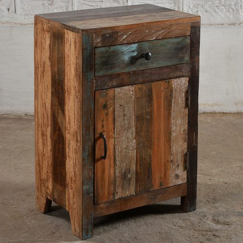 Rustic, reclaimed wooden bedside cabinet with 1-drawer & 1-door