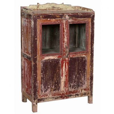 Original 2-door display cabinet in aged-red