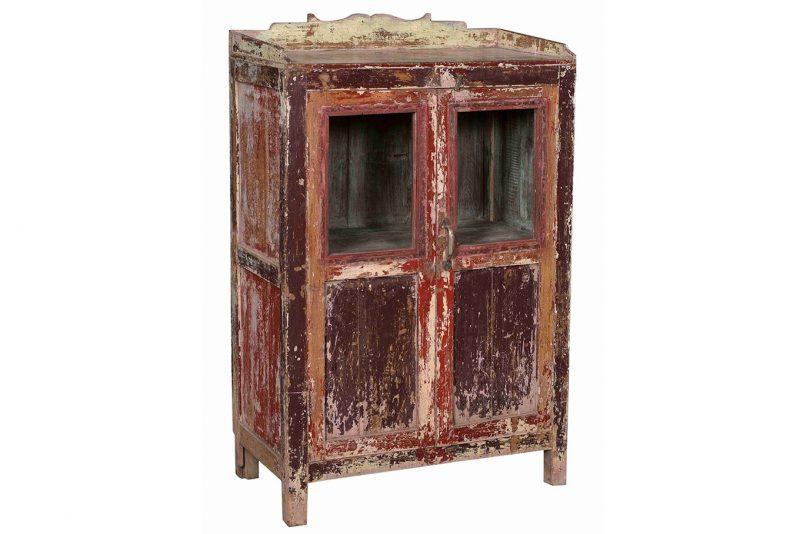 Original 2-door display cabinet in aged-red