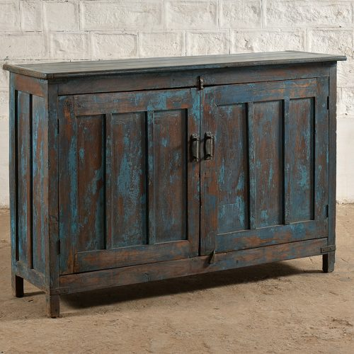 2-Door, blue wooden sideboard